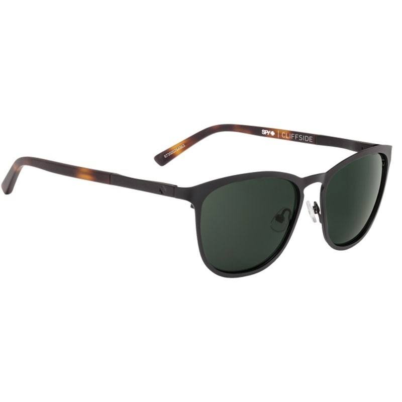 Cliffside Matte Black/Honey Tort Happy Green Glasses