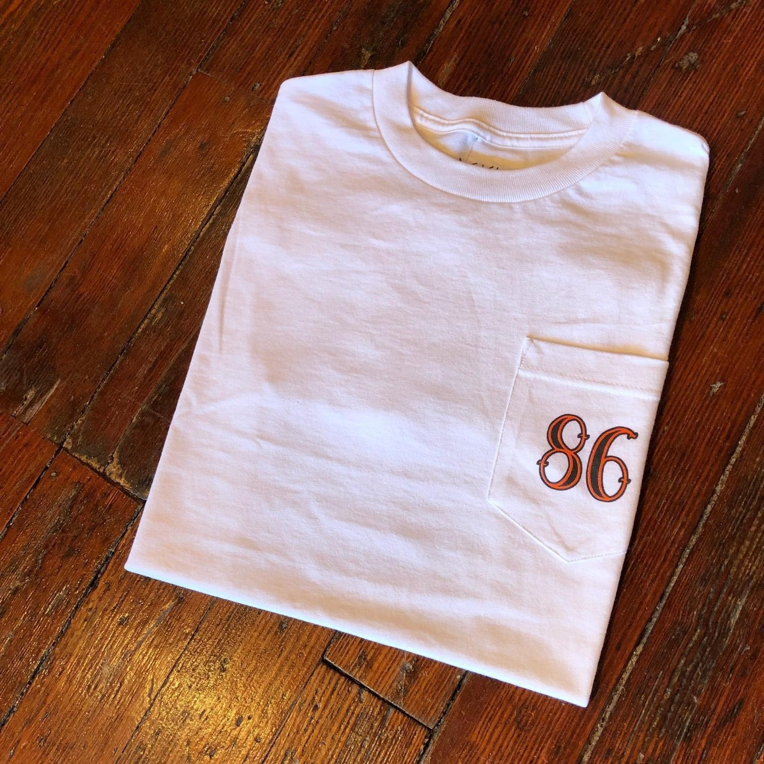 86 POCKET TEE (WHITE/ORANGE/BLACK)