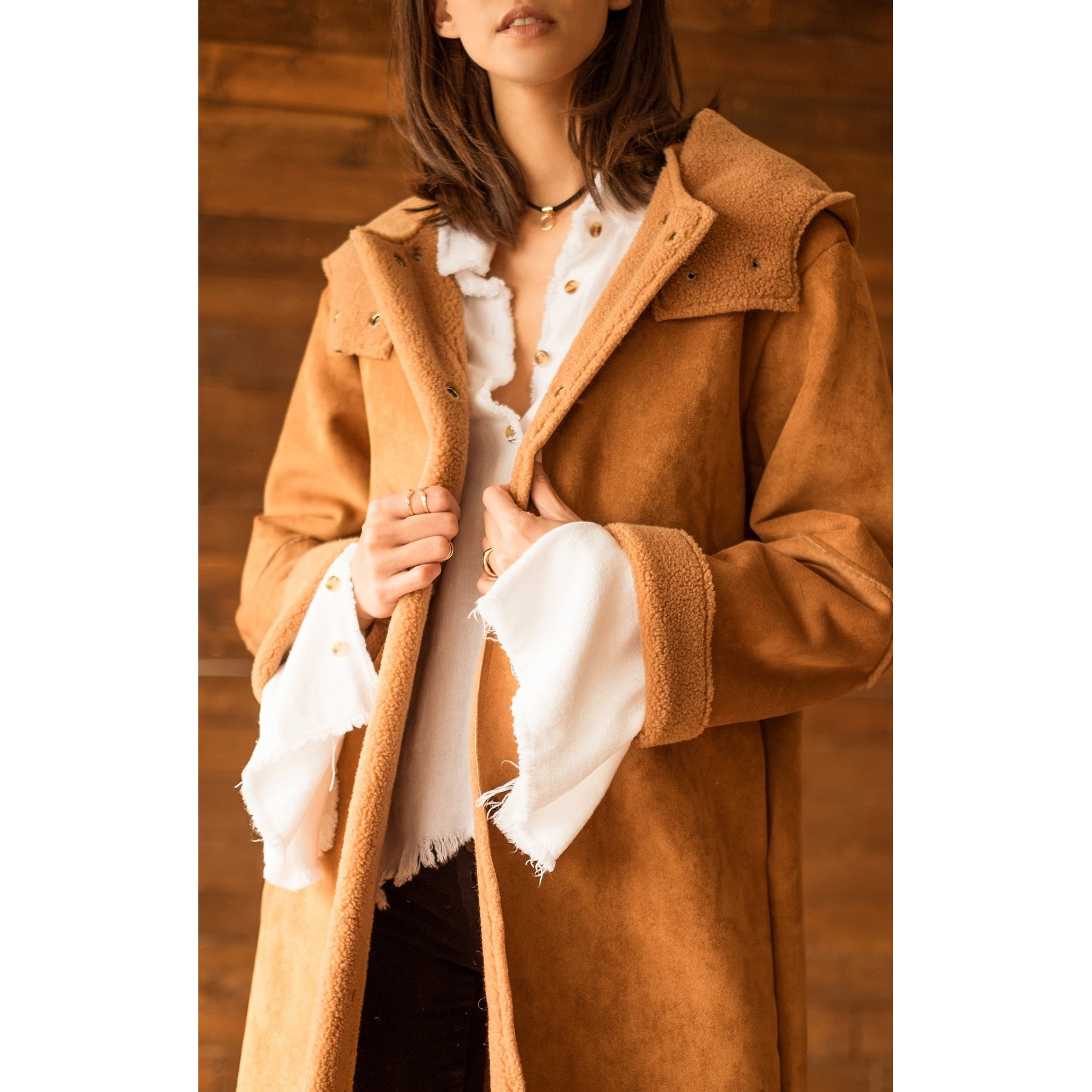 Suede Coat With Shearling