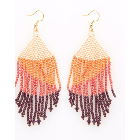 Pink Ombre Fringe Earring