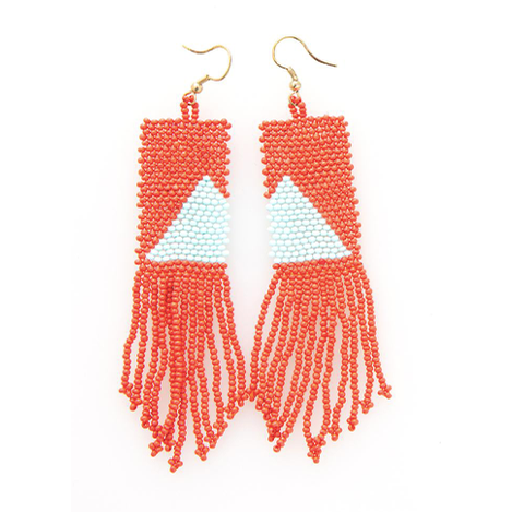 tomato with light blue triangle fringe earring