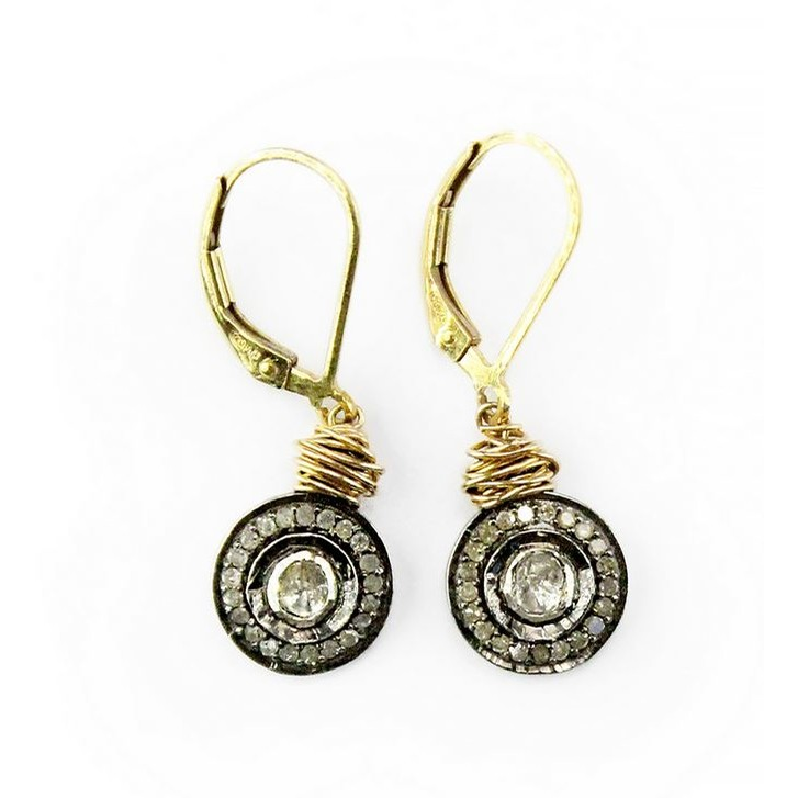 Rose Cut And Pave Diamond Halo Drop Earrings (Pave Diamond)