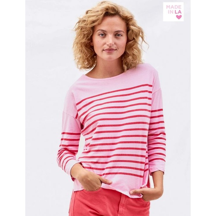 Stripes Boat Neck Tee (Carnation)