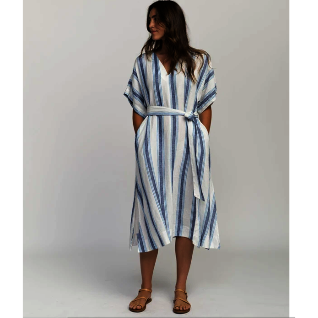 Hannah Dress Wide Blue Stripe (Blue)