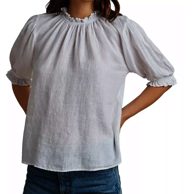 Rosabel Woven Linen Puff Sleeve Top (White)
