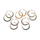 Bloom Leather Wrapped Hoops (Loden)