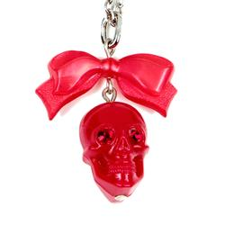 Skull Pendant On Dainty Chain Red