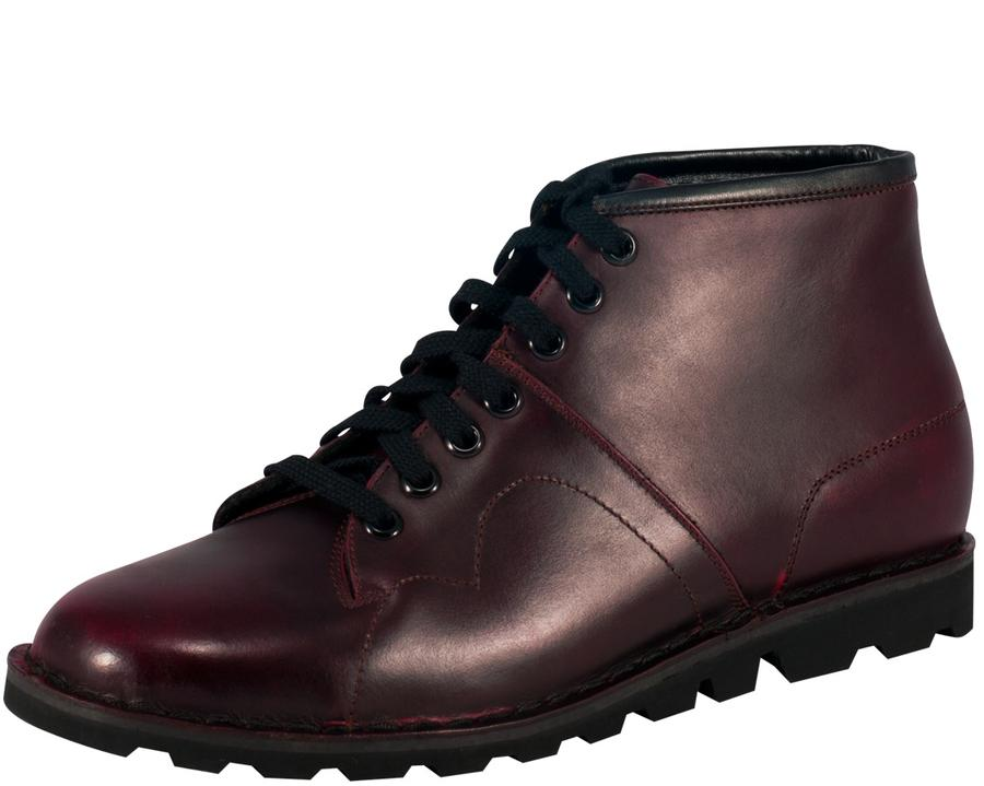 Burgundy Rub-Off Monkey Boots