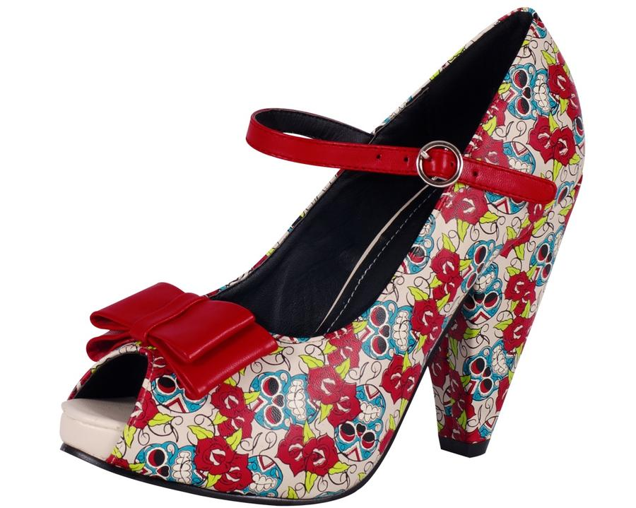 Day of The Dead Print Rocket Heel