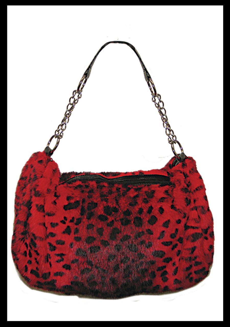 Red Leopard Fur Bag With Chain Handle