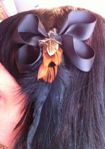 Black Ribbon With Black And Brown Feather