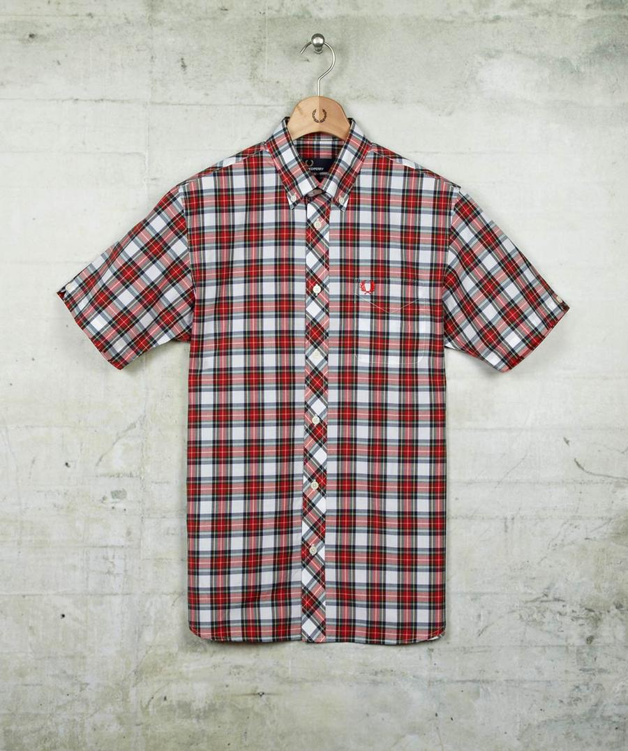 Men's White Stewart Tartan Shirt