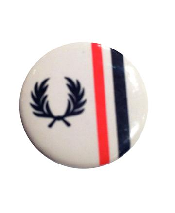 Fred Perry White Laurel Stripe Button