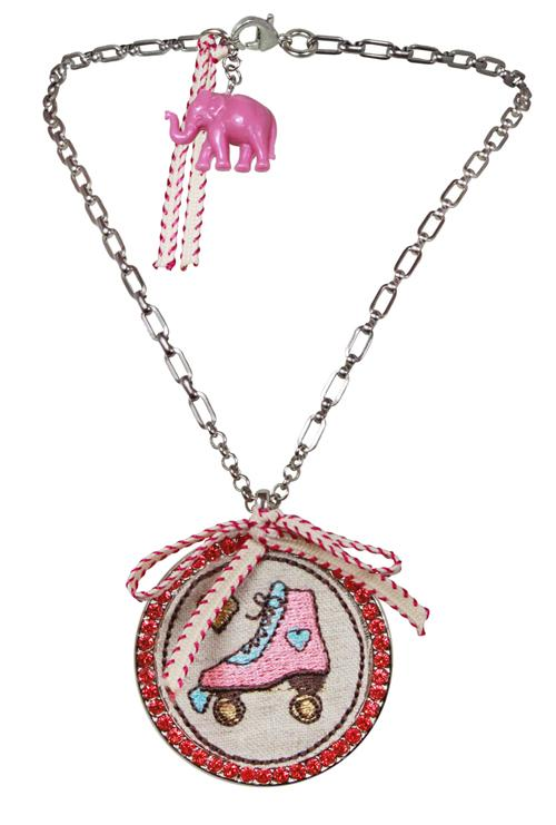 Rollerskate Embroidered Necklace