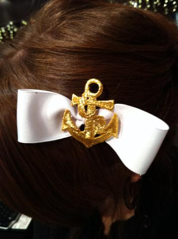 White Ribbon Bow with Gold Anchor Center