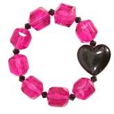Lucite Puff Heart Bracelet - Fuchsia