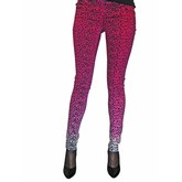 Women's Pink Ombre Leopard Print Stretch T-Jeans