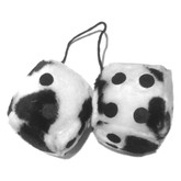 "Fuzzy Dice 3"" Cow Black White"