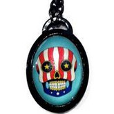 Easy Rider Skull Pop Art Oval Necklace