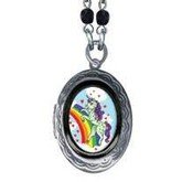 Small Mommy Unicorn Oval Pop Art Locket Necklace
