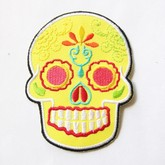 Broken Cherry Yellow Sugar Skull Patch