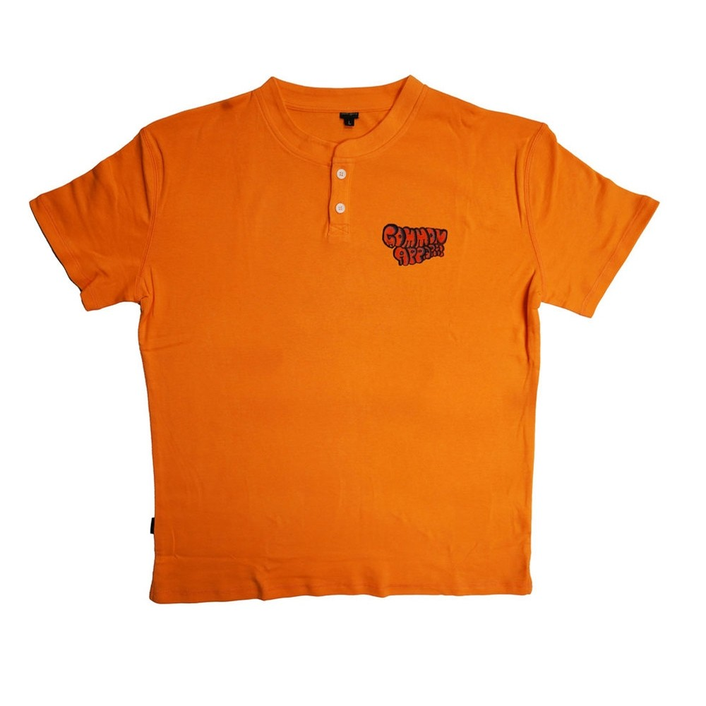 Pastel 2 Button Henley - Orange