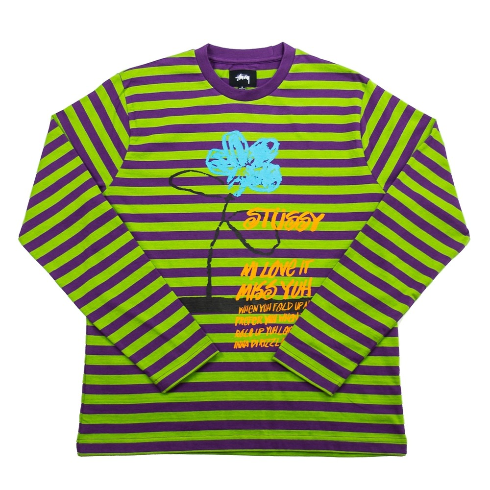 Stussy Flower Stripe LS Crew (Purple)