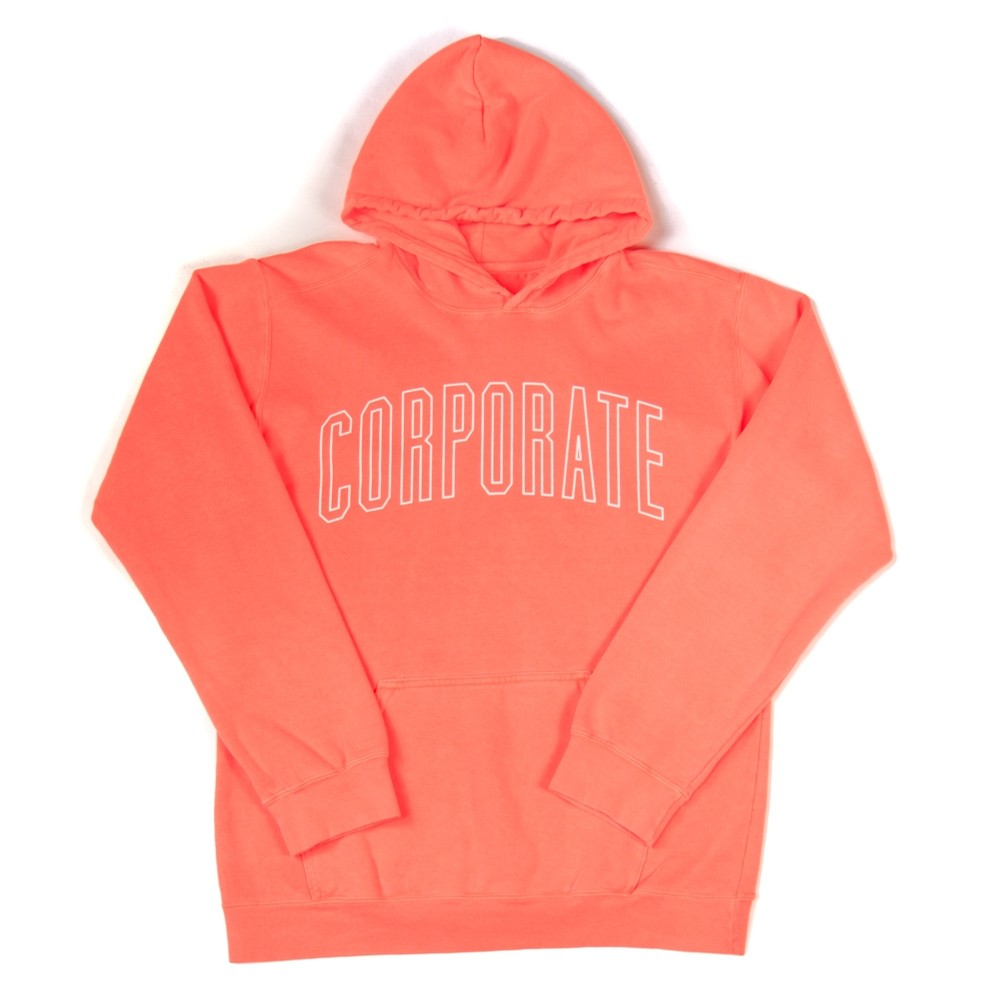 Corporate Arch Outline Hoodie (Neon Red Orange)