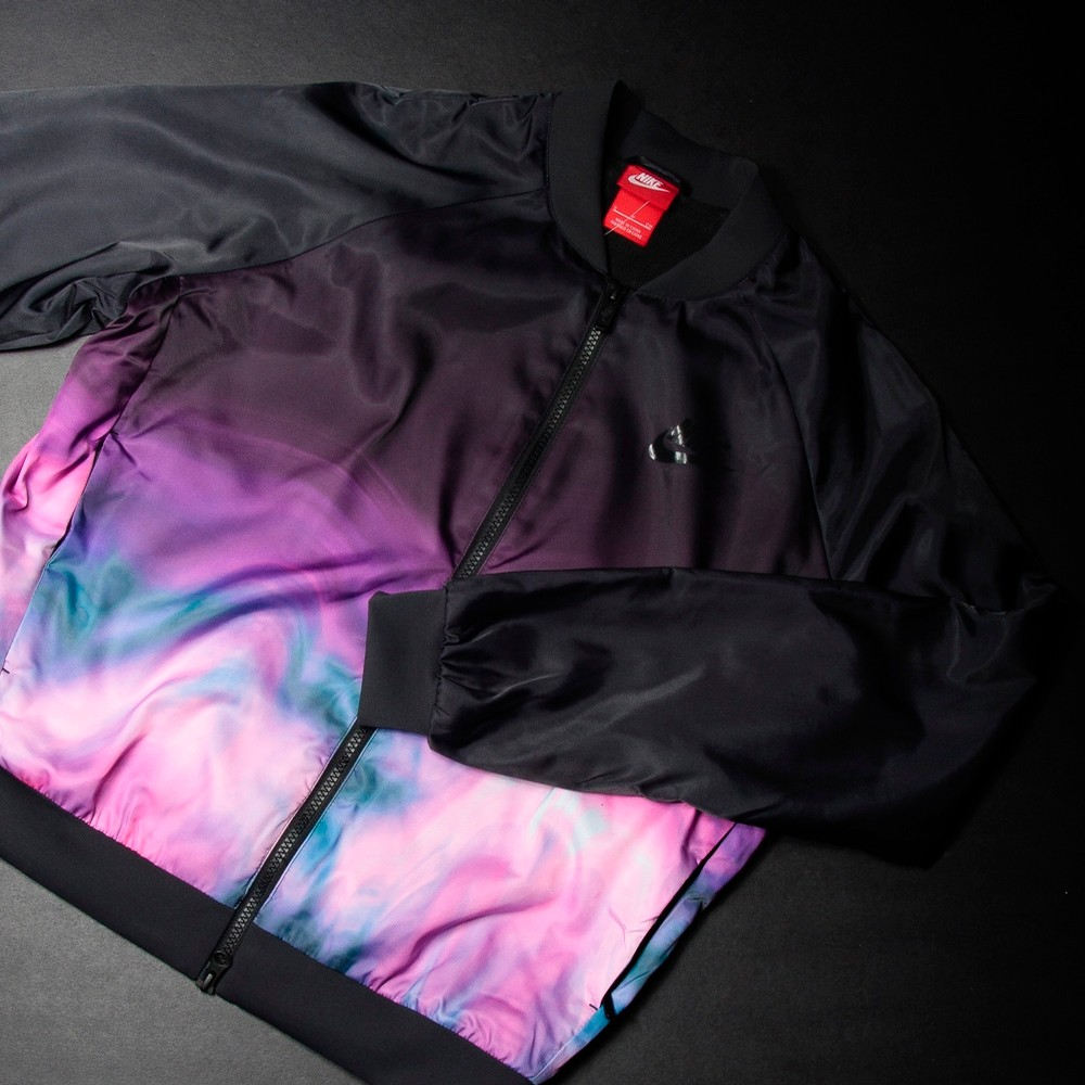NIKE Womens Print Bomber Jacket (Black/Purple)