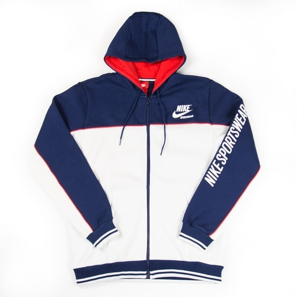 NIKE NSW Fleece Hoodie (Binary Blue/Summit White/University Red)