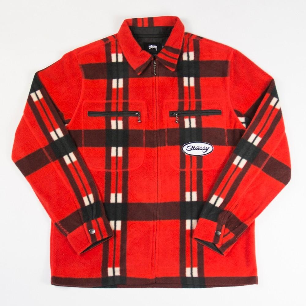Stussy Polar Fleece Zip Up Shirt (Red)