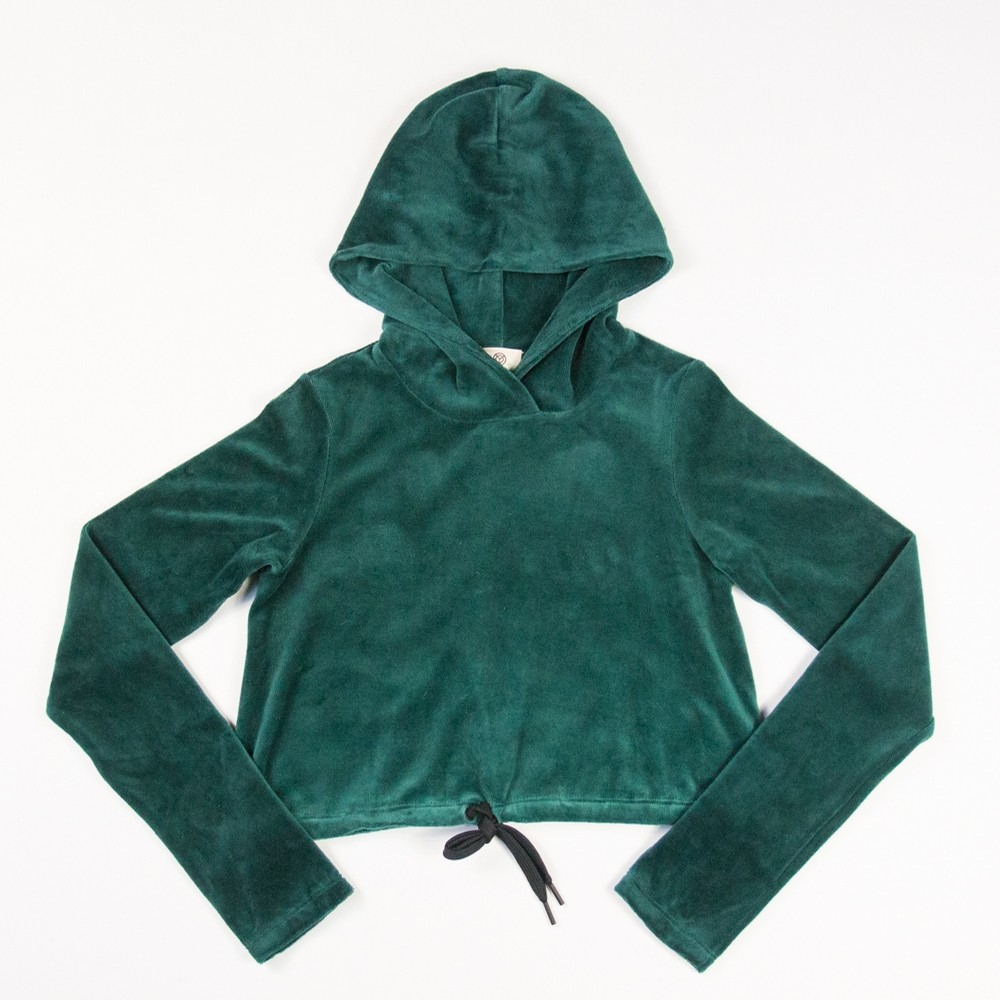 Year of Ours Try Out Cropped Velour Hoodie (Deep Teal)