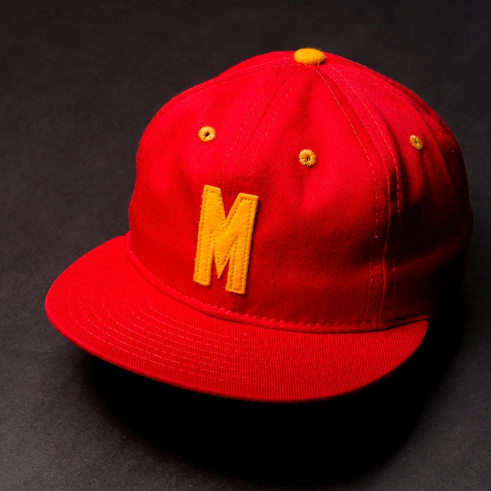 Ebbets Field Flannels Marines Leather StrapBack (Red)