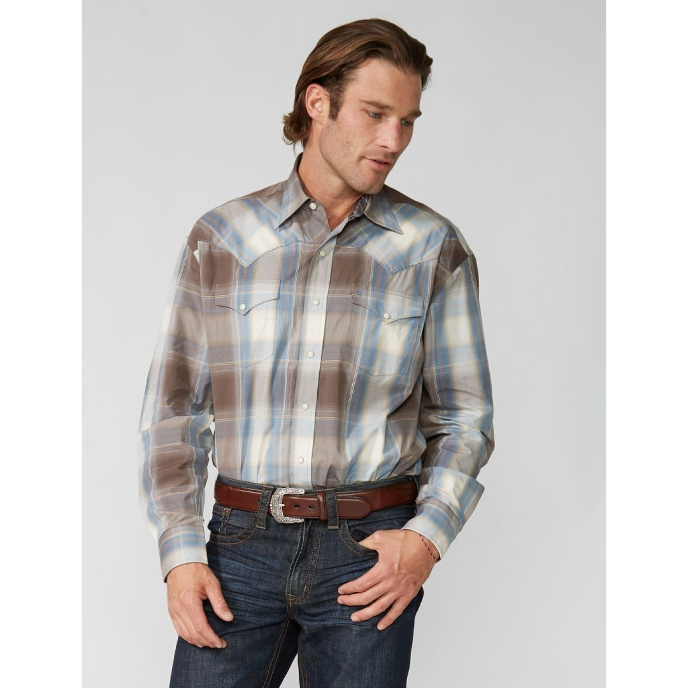 Snap Shirt in Silt Plaid