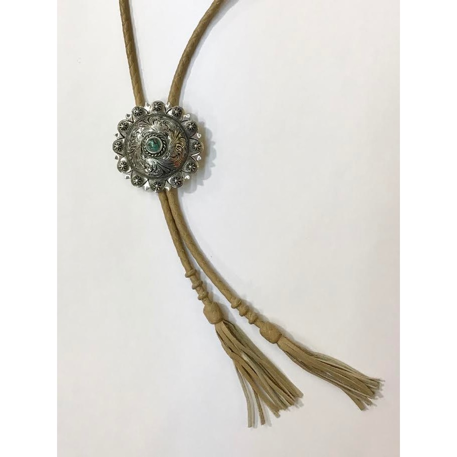 Crown Bolo Tie with Turquoise Accent