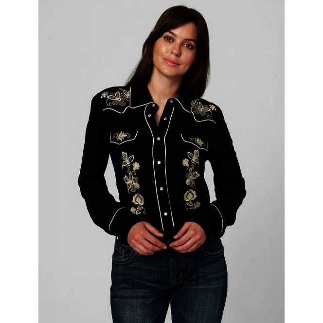 Black Embroidered Snap Shirt