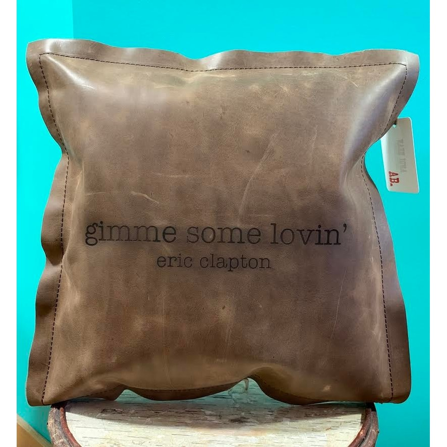 Gimme some lovin leather pillow