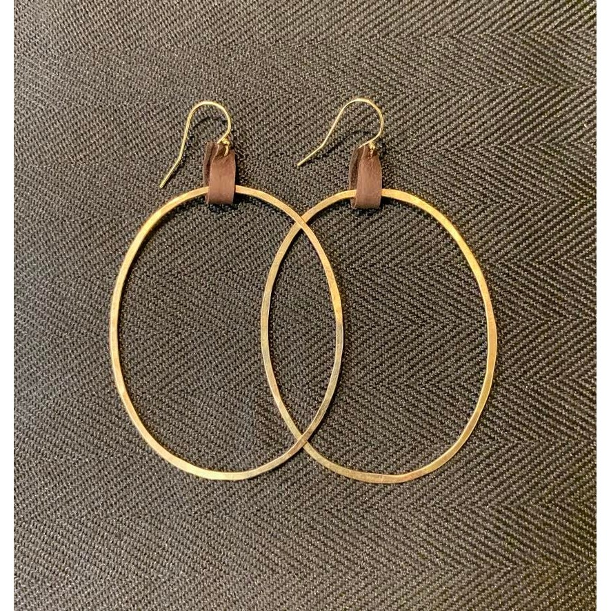 Goldfill Hoops with Leather Tab