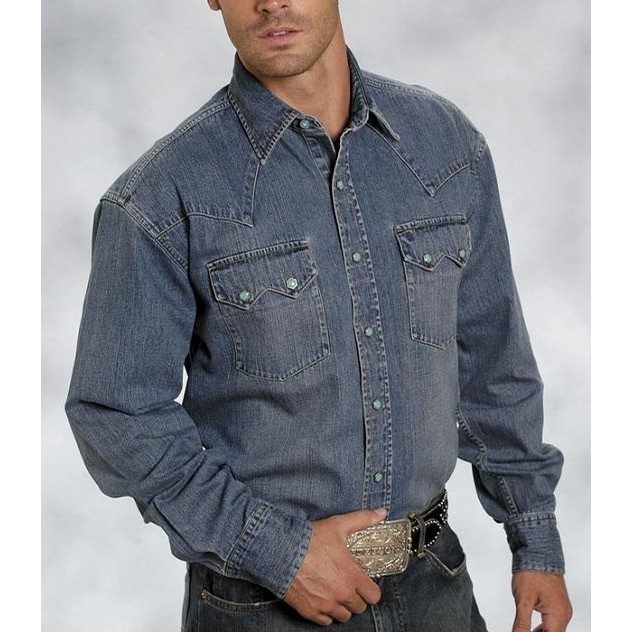 Denim Shirt with Turquoise Snaps