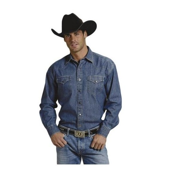 Mens Long Sleeve Denim Shirt with Two Pockets