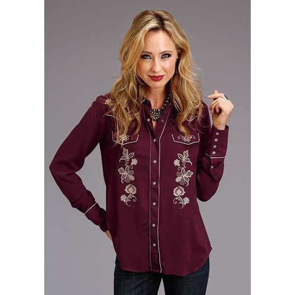 Stetson Wine Color Embroidered Snap Shirt