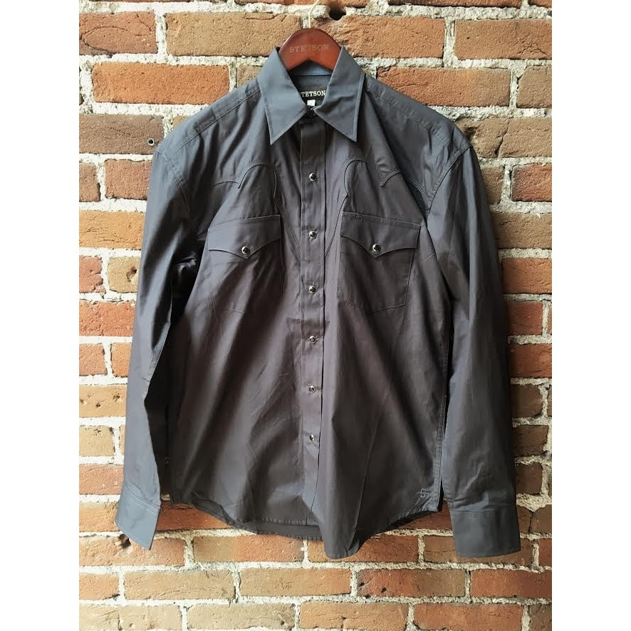 Solid Dark Gray Snap Shirt