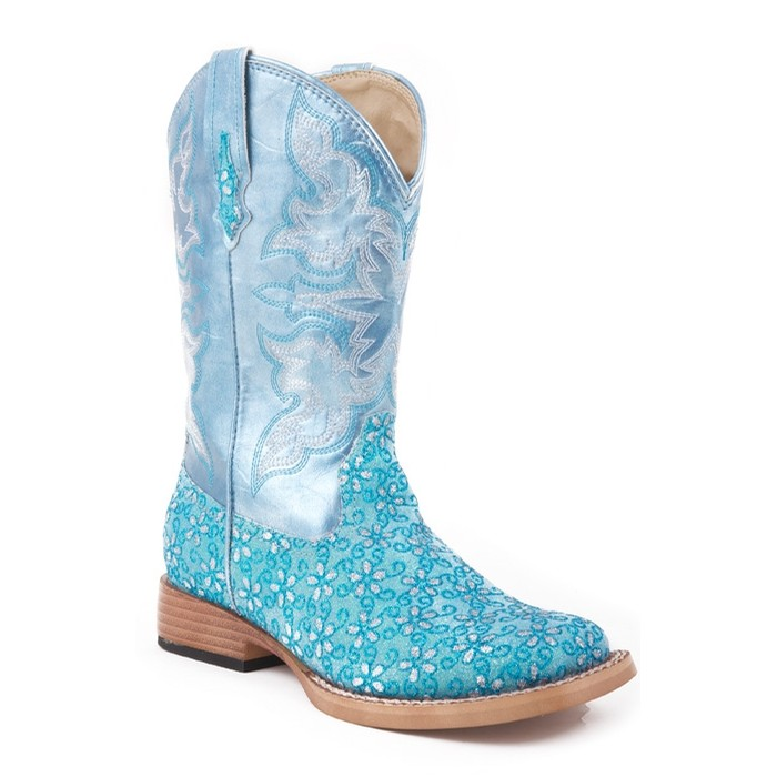 Turquoise Floral Glitter Boot