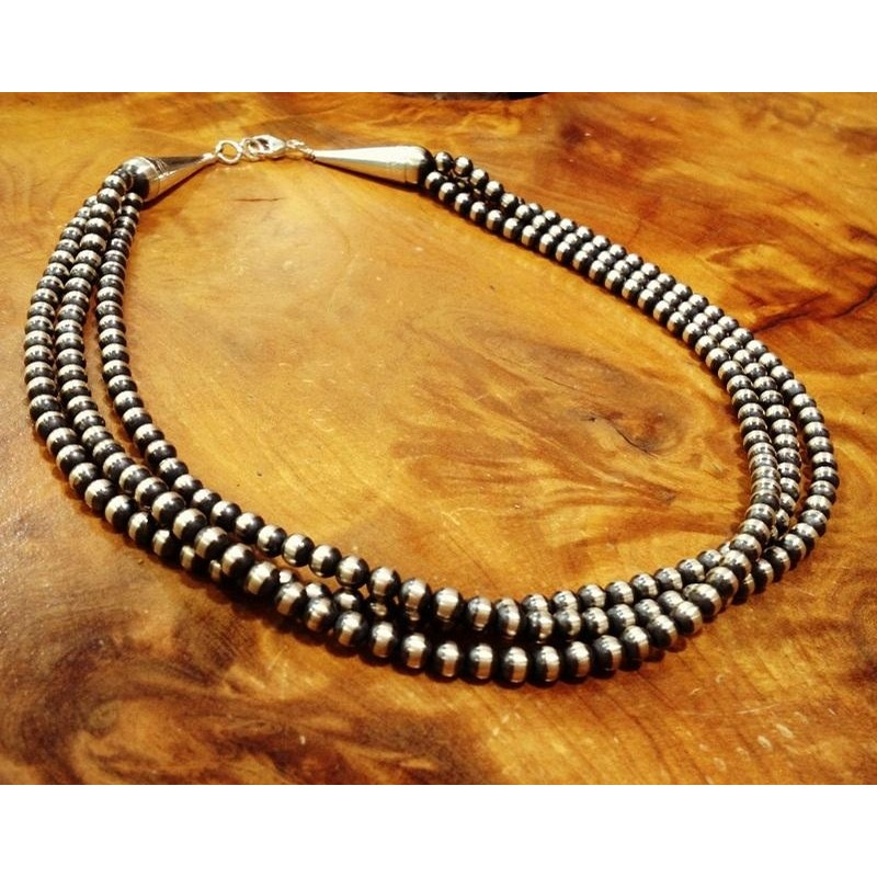 3 Strand 18 Inch 5mm Baca Bead Necklace