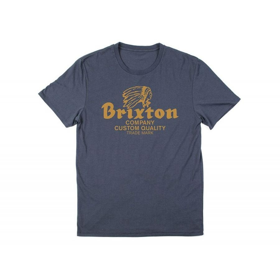 Brixton Tanka Premium Tee | Steel Blue/Gold