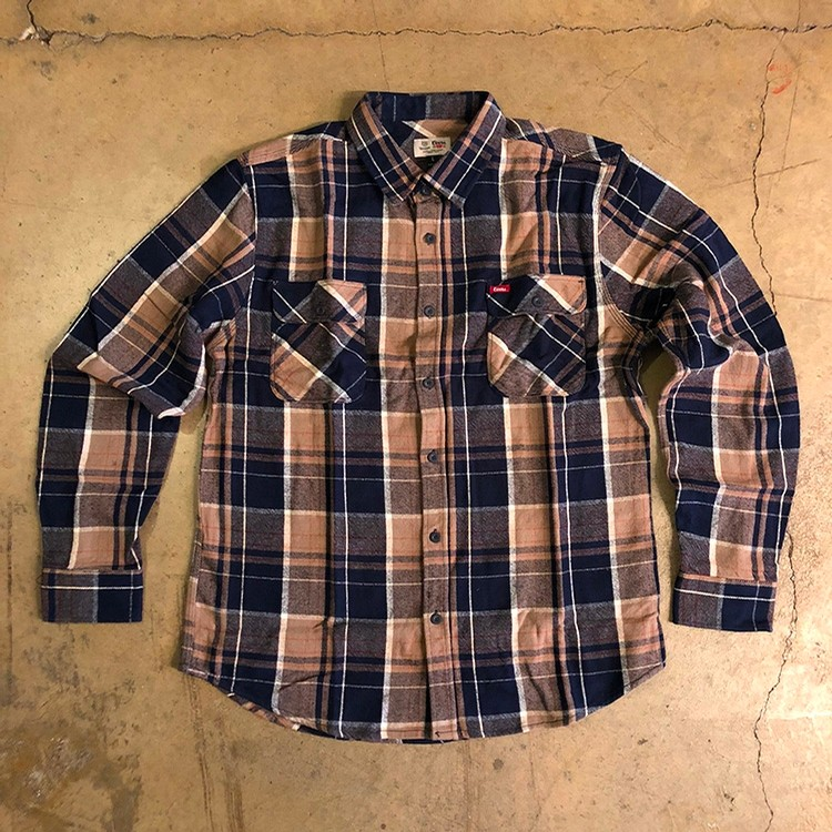 Brixton Bowery Coors L/S Flannel (Navy Plaid)