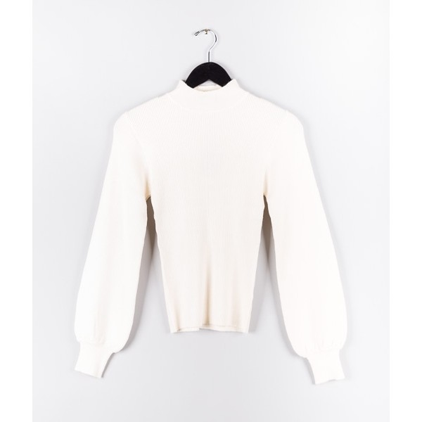 Fitted Knit Top: White