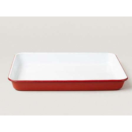 Falcon Enamel Serving Tray-White and Red