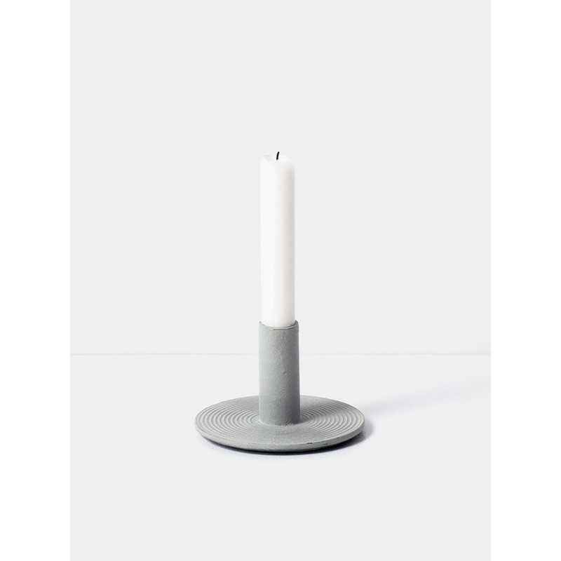 ferm LIVING Cast Iron Candle Holder: Dusty Green
