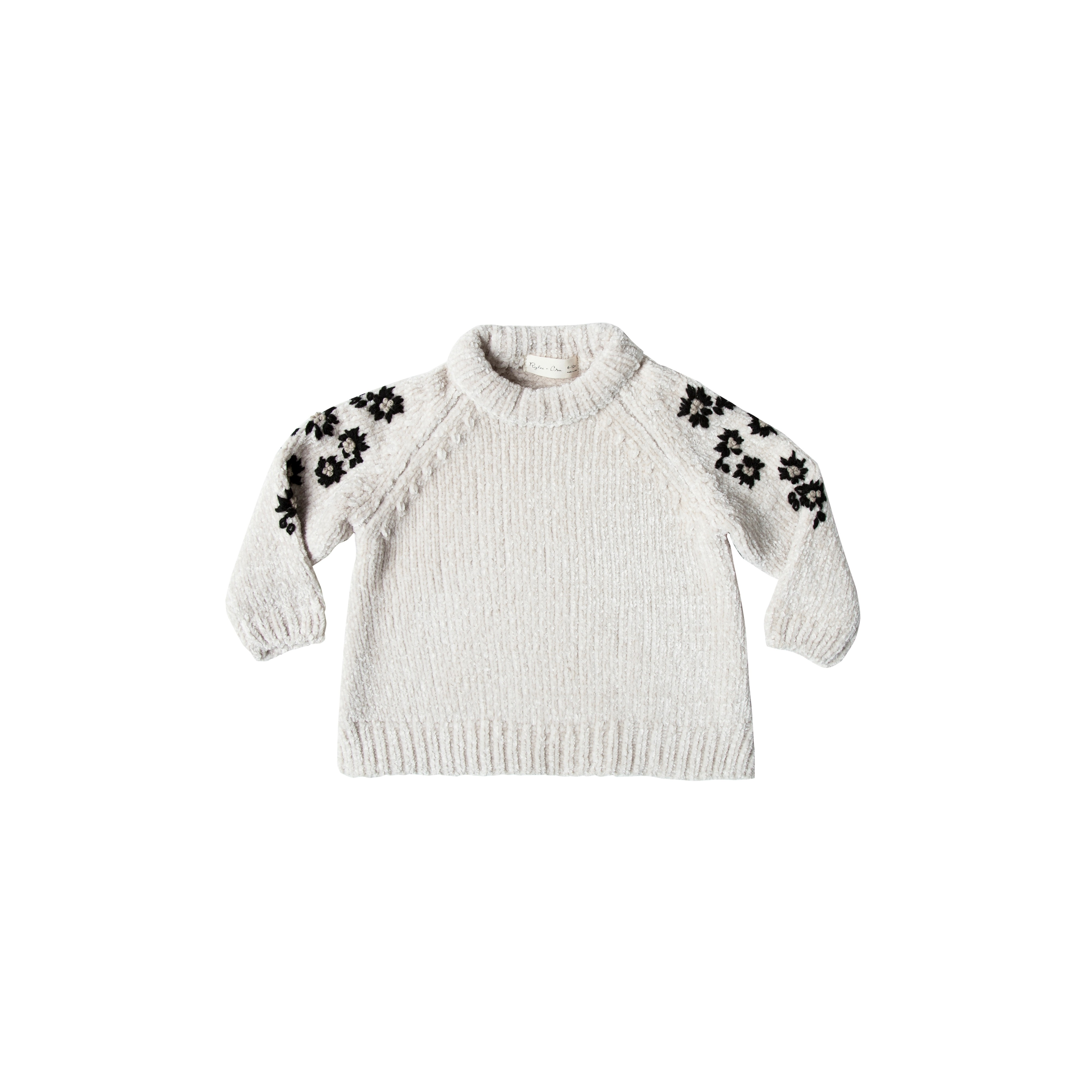 Floral Embroidered Chenille Sweater